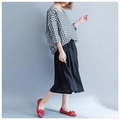 きちんと見える レディース ウエストゴム 大活躍 ネイビースカート たっぷりフレア ふんわり 柔らかな ミモレ丈 フレアスカート これからの季節