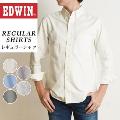 SALEセール5%OFF EDWIN エドウィン ボタンダウンシャツ オックスシャツ チェックシャツ 長袖 メンズ カジュアル ビジネス ET2092