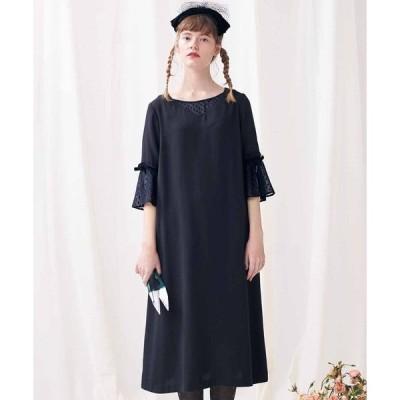 ドレス 透け感がキレイな ドットシフォン遣いワンピース