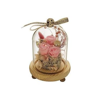 ガラスドームの永遠のバラ保存されたバラのガラスの花バレンタインデーの誕生日母の日記念日クリエイティブギフト保存された新鮮な花 (ピンク)