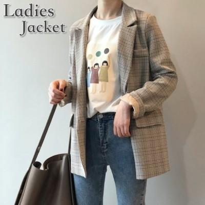 レディーステーラードジャケットアウター女性長袖上着ポケットチェック柄お洒落ミディアム丈可愛いきっちりオフィスカジュア