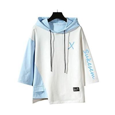SUKESEM パーカー メンズ 半袖 七分袖 tシャツ おしゃれ 大きいサイズ フード付き ゆったり スポーツウェア カジュアル プルオーバー (白