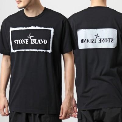 STONE ISLAND ストーンアイランド 74152NS80 STENCIL ONE Tシャツ カットソー クルーネック スクエアロゴ バックプリント コットンジャージー 半袖 V0029 メンズ