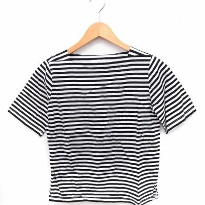 【中古】ユナイテッドアローズ UNITED ARROWS Tシャツ カットソー ボーダー スクエアネック 半袖 綿 ホワイト 白 ブラック 黒 /FT レディース 【ベクトル 古着】