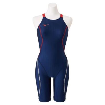 ミズノ 競泳用ハーフスーツ(レースオープンバック)[ジュニア] 86ネイビー×レッド 130 スイム 競泳水着 STREAM ACE N2MG0424