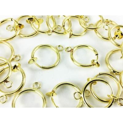フープ イヤリング パーツ ゴールド 20個 10ペア 13mm カン 付き 金色 ノンホール ピアス ハンドメイド 素材 (AP0162)