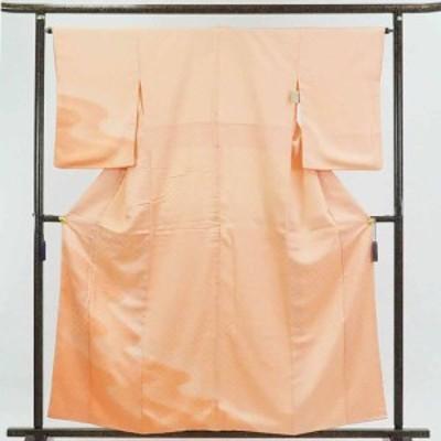 【中古】リサイクル着物 訪問着 / 正絹ピンクオレンジ青海波模様ぼかし袷訪問着着物 / レディース【裄Mサイズ】