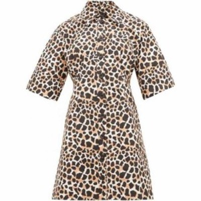 シー Sea レディース ワンピース シャツワンピース ワンピース・ドレス Apollo animal-print cotton-poplin shirtdress Print