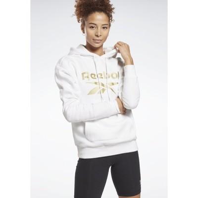 リーボック パーカー・スウェットシャツ レディース アウター REEBOK IDENTITY LOGO FLEECE HOODIE - Sweatshirt - white