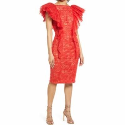 タダシショージ TADASHI SHOJI レディース ワンピース ワンピース・ドレス Ruffle Lace V-Back Dress Flame