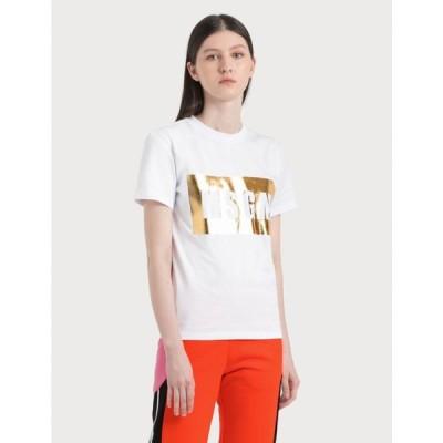エムエスジーエム MSGM レディース Tシャツ トップス Box Logo Print T-Shirt White