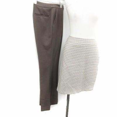 【中古】STUDIOUS パンツ ストレート ラップスカート ひざ丈 チェック柄 ウール混 2 茶 ベージュ 水色 レディース