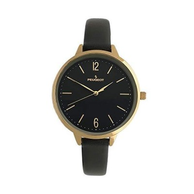 Peugeot Women's Slim Watch, 14K Gold Plated Large Face Watch with Skinny Leather Strap並行輸入品