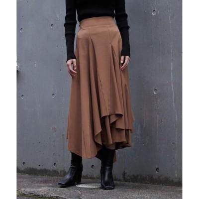 スカート プリーツレイヤードフレアスカート