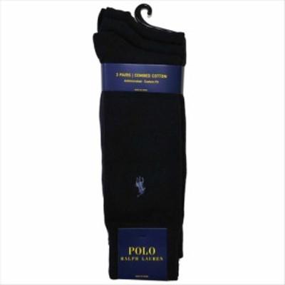 POLO RALPH LAUREN ソックス 8070PK 3足セット color401 ネイビーブルー ポロラルフローレン 靴下 無地 ハイソックス 紺色 メンズ 男性用