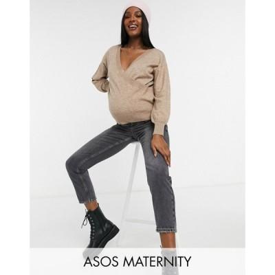 エイソス ASOS Maternity レディース ニット・セーター マタニティウェア トップス ASOS DESIGN Maternity wrap jumper in taupe トープ