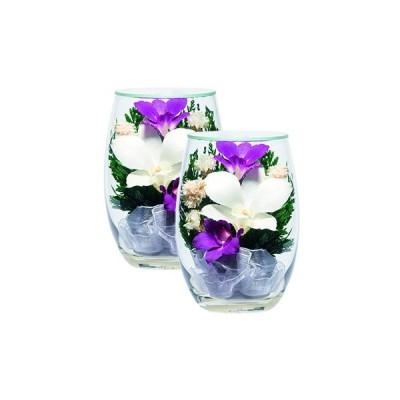 仏壇用 プリザーブドフラワー 造花 ブーケ お盆 仏具 お供え コンパクト お仏壇のはせがわ「プリエール S 蘭スターチス対7935N」