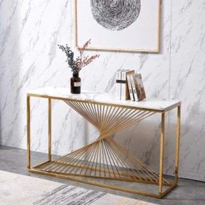高級サイドテーブル コンソールテーブル .玄関テーブル 花台 電話台 アンティーク調デザイン 幅度100cm 大理石