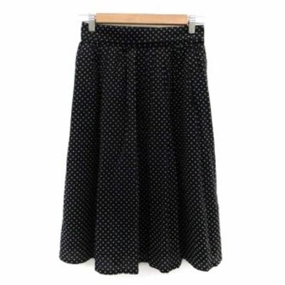 【中古】ノーリーズ Nolley's スカート フレア ミモレ丈 ドット柄 38 黒 ブラック 白 ホワイト /HO22 レディース