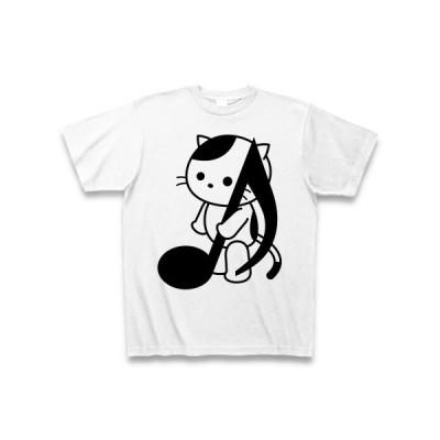音符ウッドベースとねこ Tシャツ(ホワイト)