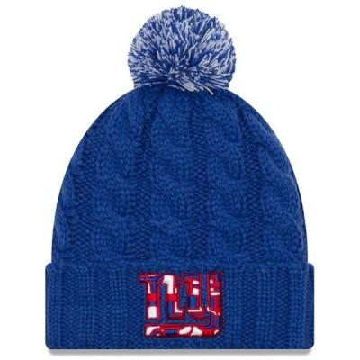 レディース スポーツリーグ フットボール New York Giants New Era Women's NFLxFIT Cuffed Knit Hat with Pom - Royal - OSFA 帽子
