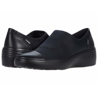 エコー スニーカー シューズ レディース Soft 7 Wedge GTX Slip-On Black/Black Cow Leather/Textile