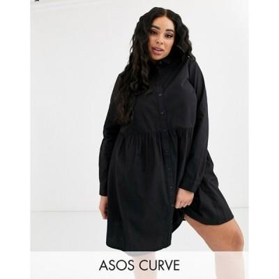 エイソス レディース ワンピース トップス ASOS DESIGN Curve cotton mini smock shirt dress