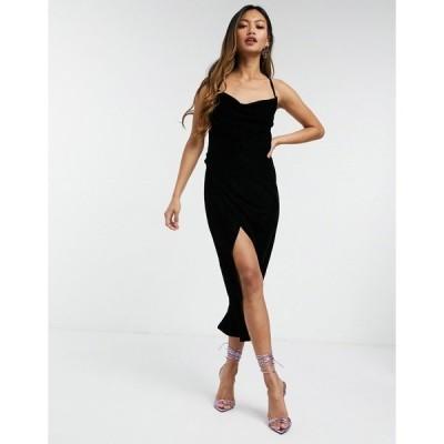 エイソス レディース ワンピース トップス ASOS DESIGN Velvet Slip Dress with strap detail Black