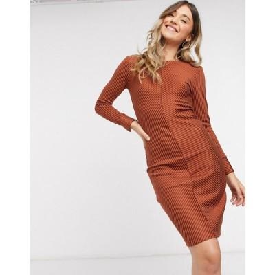 ジェイディーワイ JDY レディース ボディコンドレス ミドル丈 ワンピース・ドレス tabby bodycon midi dress in orange stripe