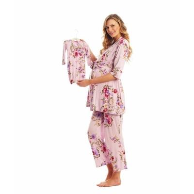 エベリーグレイ ナイトウェア アンダーウェア レディース Analise Maternity/Nursing Mommy & Me Five-Piece PJ Set Dusty Rose