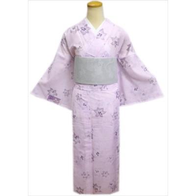 洗える絽(夏物)着物と紗半巾帯(細帯)セット淡ピンク地ゆりM L