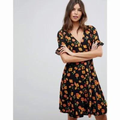 エイソス ワンピース button through tea dress with frill sleeve in floral print Ditsy floral