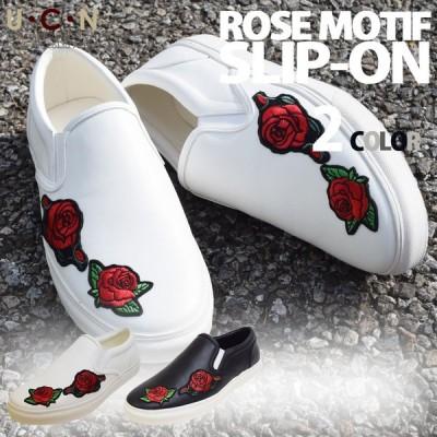 薔薇 モチーフ スリッポン