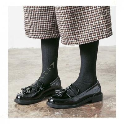 大きいサイズ チャンキーヒール シンプル ローファー レディース パンプス 大人 学生 ヒール おしゃれ 黒 靴 タッセル フリンジ エナメル ローヒール 定番