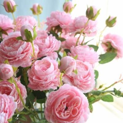 1ブランチ3頭の模擬シルクブライダル牡丹花結婚式の人工花ロマンチックブーケ
