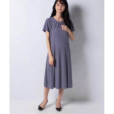 <Leilian(Women)/レリアン> 幾何学模様ワンピ-ス アオ【三越伊勢丹/公式】