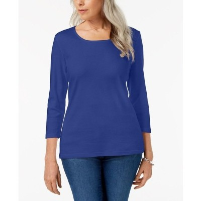 ケレンスコット カットソー トップス レディース Cotton 3/4-Sleeve Top, Created for Macy's Ultra Blue