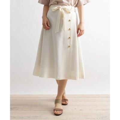 スカート 麻調金釦使い共ベルト付きスカート