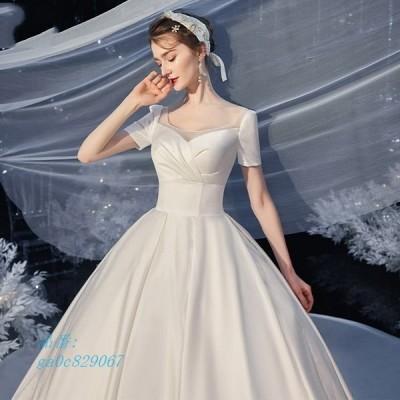 ウェディングドレス ウェディングドレス白 パーティードレス 可愛いドレス 花嫁ロングドレス 結婚式 お呼ばれ トレーンライン 二次会 挙式 エレ
