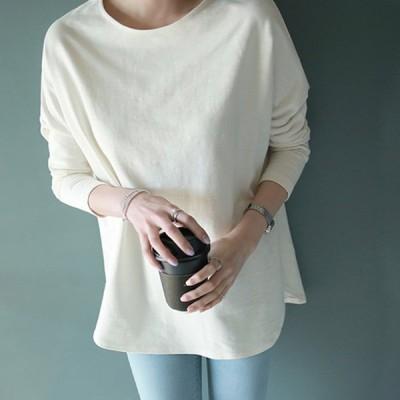 シンプル 長袖 カットソー Tシャツ インナー オーバーサイズ カジュアル サイドスリット ホワイト ブラック パープル ブルー ベージュ