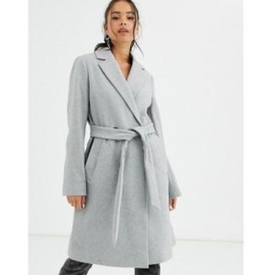 ベルシュカ Bershka レディース コート アウター tie waist tailored coat in grey グレー
