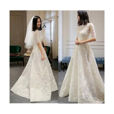 ウェディングドレス ロング レース ドレス オフショルダー 二次会ドレス パーティードレス 刺繍 ロングドレス 花嫁ドレス 細身