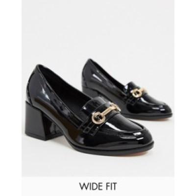 エイソス レディース ヒール シューズ ASOS DESIGN Wide Fit Skylar mid-heeled loafers in black patent Black patent
