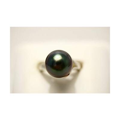 タヒチ黒蝶真珠パールリング指輪 11mm ブラックカラー K18WG製