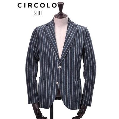 チルコロ CIRCOLO 1901 シングルジャケット メンズ コットンリネン ブルー×ネイビー ストライプ 2つ釦 織り柄 国内正規品 でらでら 公式ブランド