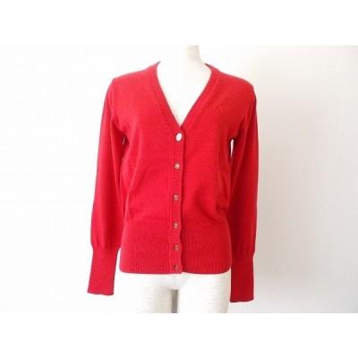#anc ヴィヴィアンウエストウッド レッドレーベル VivienneWestwood カーディガン 2 赤 ニット オーブ刺繍 美品 レディース [611968]
