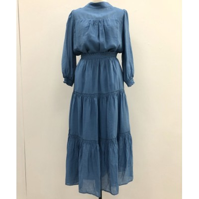 (Swingle/スウィングル)シアーブラウス×ティアードスカート セット/レディース ブルー