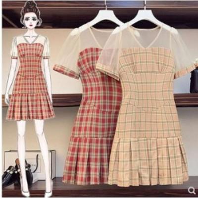 秋新作 予約商品 大きいサイズ レディース プリーツスカート チェック柄 ワンピース 大人カジュアル 210610