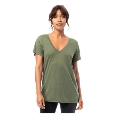 オルタナティヴ Alternative レディース Tシャツ Vネック トップス Melange Burnout Jersey Slinky V-Neck Army Green