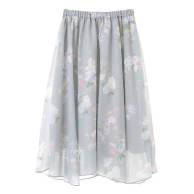 スカート 花柄イレヘムスカート